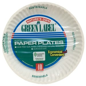 Green Label Paper Plate 9in 40ct