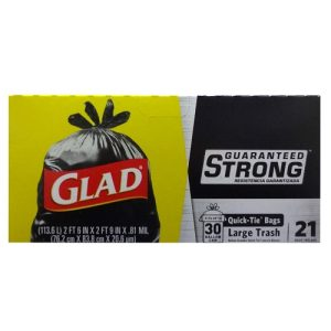 Glad Quick Tie Bags 21ct 30 Gl Lg Strong