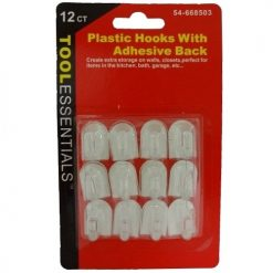 Plastic Hooks W-Adhesive Back 12ct