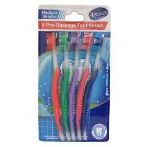 Amoray Toothbrushes 5pk Asst Clrs Card