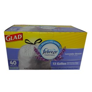 Glad Tall Kitchen Bags 40ct 13gl Lavende