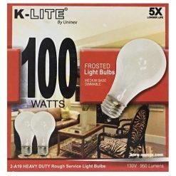 K-Lite Light Bulbs 2pk 100w Frosted