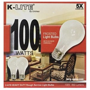 K-Lite Light Bulbs 2pk 100w Frosted