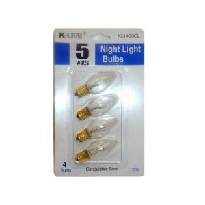 K-Lite Night Light Bulbs 5 Wt 4pc Clear