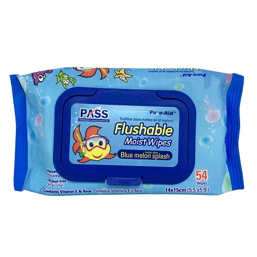 Pure-Aid Flushable Moist Wipes 54ct