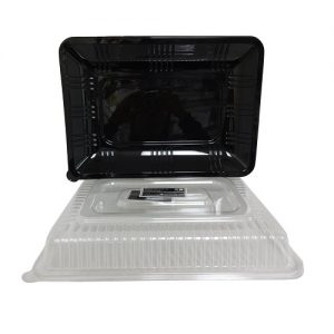 Serving Tray W-Lid Rect 10 X14 Black