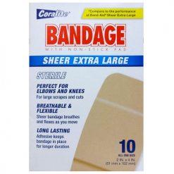 Coralite Bandages 10ct Sheer Xtra Lg