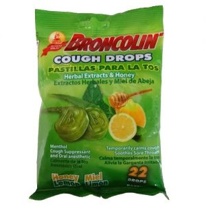 Broncolin Cough Drops 22ct Honey Lemon