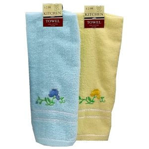 Hand Towels W-Flowers Asst Clrs