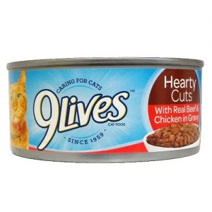 9 Lives 5.5oz Hearty Cuts W-Beef AND Chic