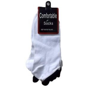 ***Socks Low Cut 9-11 White W-Black